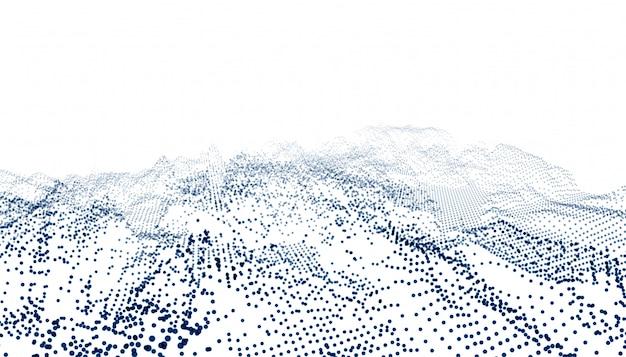 Onda de conexão de partículas no fundo branco Vetor grátis