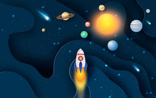 Onda de curva abstrata com inicialização de foguete de lançamento Vetor Premium
