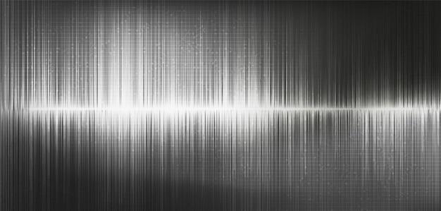 Onda de som digital de luz cinza e onda de terremoto, sobre fundo preto. Vetor Premium