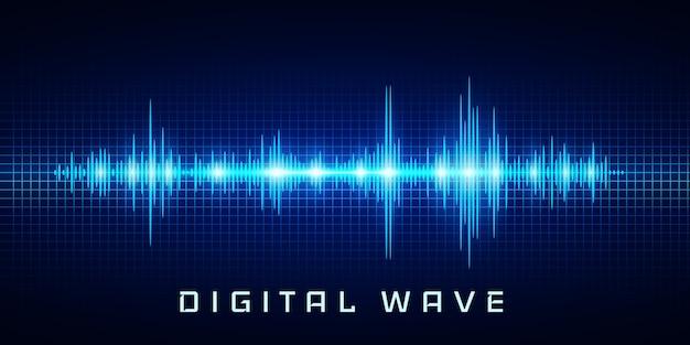 Onda digital, luz de brilho oscilante de ondas sonoras, fundo abstrato de tecnologia Vetor Premium