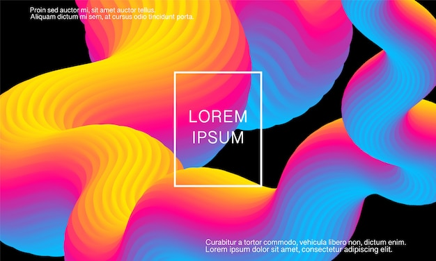Onda. fundo vibrante. cores fluidas. forma de fluxo Vetor Premium