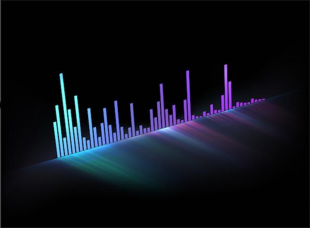 Onda sonora de faixa de música brilhante de néon. modelo musical com estilo moderno para capa de vídeo ou cartaz ou qualquer uso com tema de música. Vetor Premium