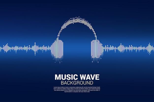 Onda sonora fundo de equalizador de música Vetor Premium