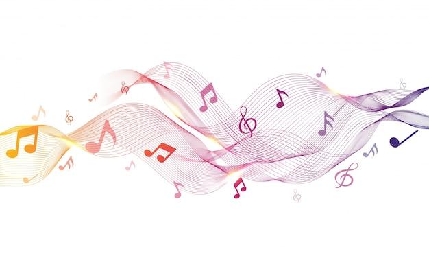 Ondas abstratas brilhantes com notas musicais. Vetor Premium