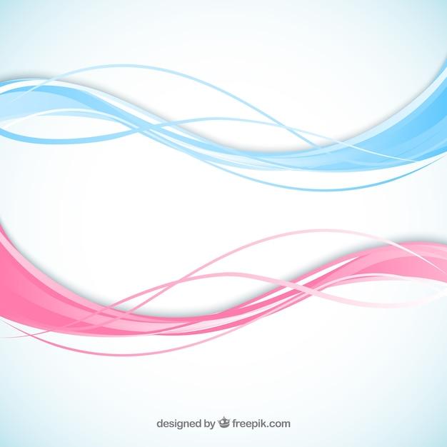 Ondas abstratas em cores rosa e azul Vetor Premium