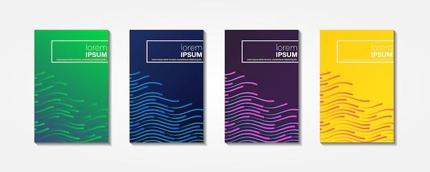 Ondas brilhantes coloridas com linhas. coberturas mínimas Vetor Premium