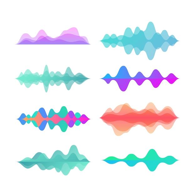 Ondas de movimento de cor de amplitude. resumo música eletrônica som conjunto de vetores de ondas de voz Vetor Premium