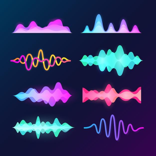 Ondas de voz de som de cor brilhante isoladas no escuro Vetor Premium