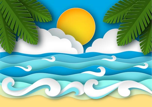 Ondas do mar e praia tropical em estilo de arte de papel. Vetor Premium