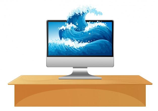 Ondas do oceano na área de trabalho do computador Vetor grátis