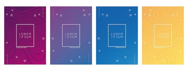Ondas e cores do conjunto de cores de fundos Vetor Premium