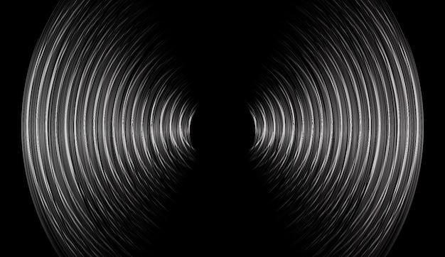Ondas sonoras, oscilando, escuro, pretas, luz Vetor Premium