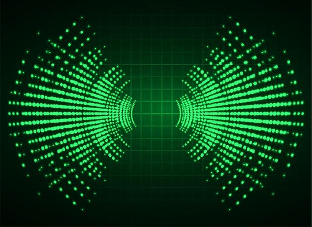 Ondas sonoras oscilando fundo verde escuro Vetor Premium