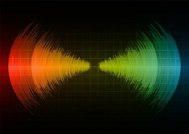 Ondas sonoras oscilando luz vermelha amarela azul escura Vetor Premium