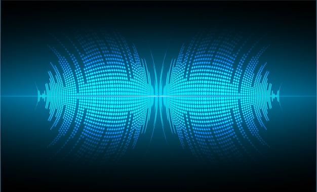 Ondas sonoras que oscilam luz azul escuro Vetor Premium