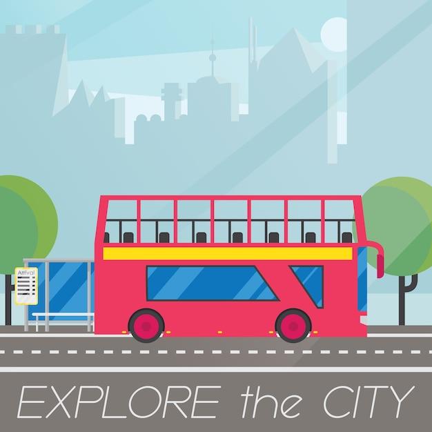 Ônibus britânico clássico de dois andares em composição plana de paisagem de cidade Vetor grátis