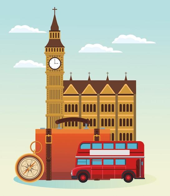 Ônibus de londres e prédio com mala e bússola Vetor Premium