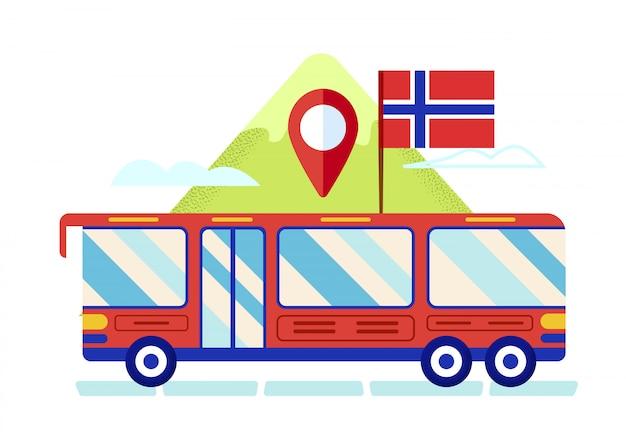 Ônibus de turismo vermelho com bandeira da noruega em férias de telhado Vetor Premium
