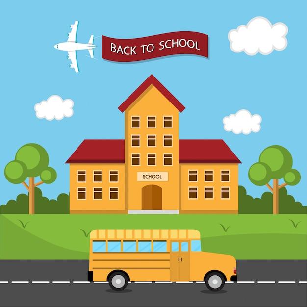 Ônibus de volta à escola Vetor Premium