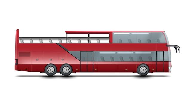Ônibus descapotável vermelho de dois andares para passeios turísticos ou passeios pela cidade. isolado em fundo branco Vetor Premium