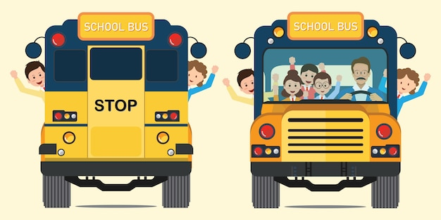 Ônibus escolar amarelo para trás e vista frontal com crianças sorrindo felizes andando no ônibus escolar. Vetor Premium