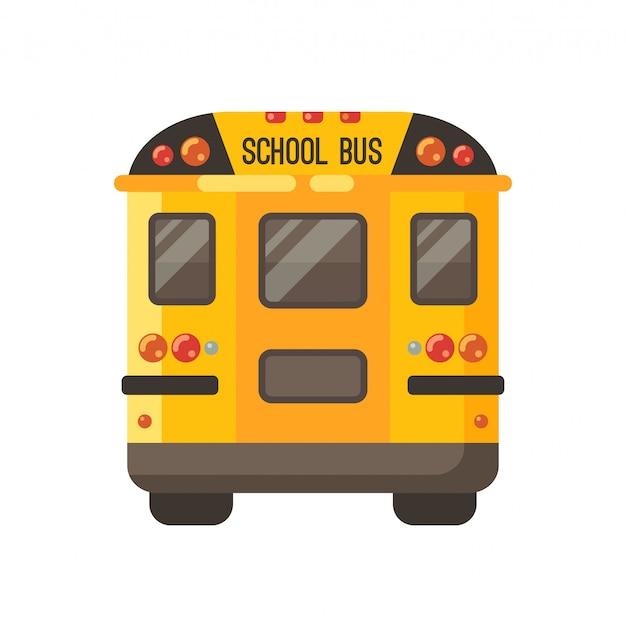 Ônibus escolar amarelo vista traseira em branco Vetor Premium