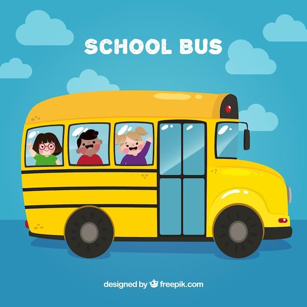 Ônibus escolar com crianças felizes Vetor grátis