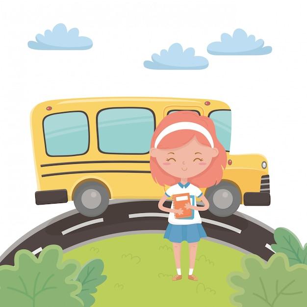 Ônibus escolar e garota Vetor grátis