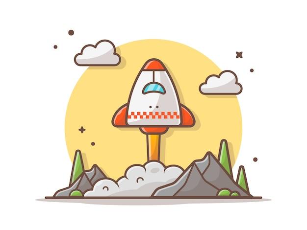 Ônibus espacial decolando com nuvens, montanha e ilustração vetorial de árvore Vetor Premium