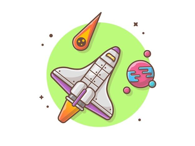 Ônibus espacial voando com ilustração vetorial de planeta e meteorito Vetor Premium