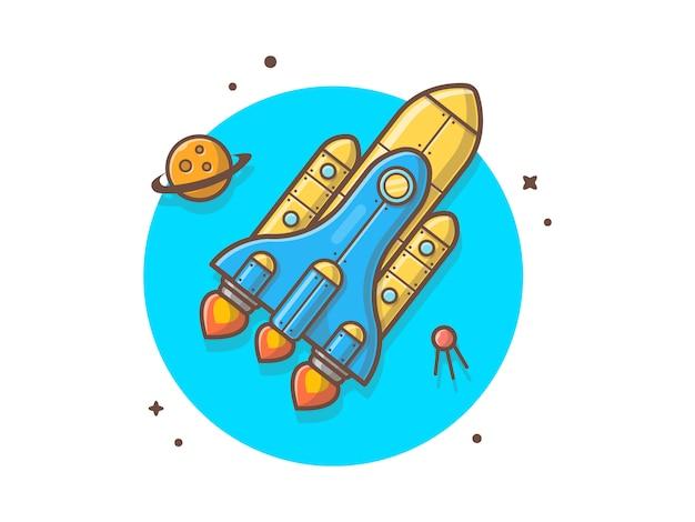 Ônibus espacial voando com planeta e ilustração vetorial de satélite Vetor Premium