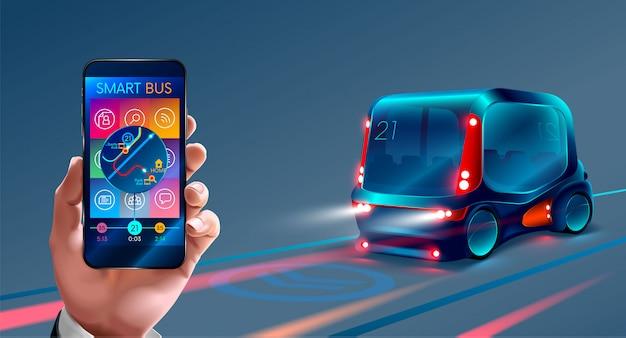 Ônibus inteligente, controle o barramento pelo seu telefone, Vetor Premium