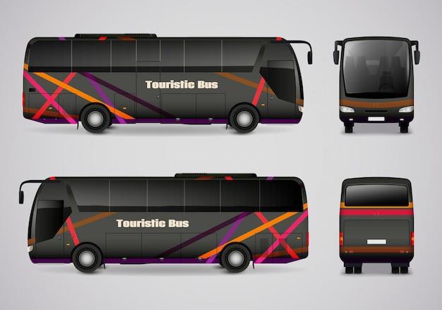 Ônibus turístico de todos os lados Vetor Premium