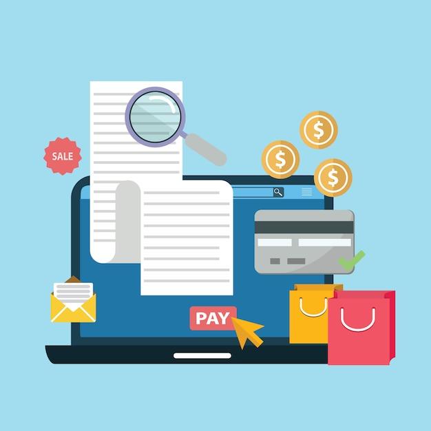 Online digital fatura laptop ou notebook com contas de cartão de crédito dinheiro moedas ilustração plana Vetor Premium