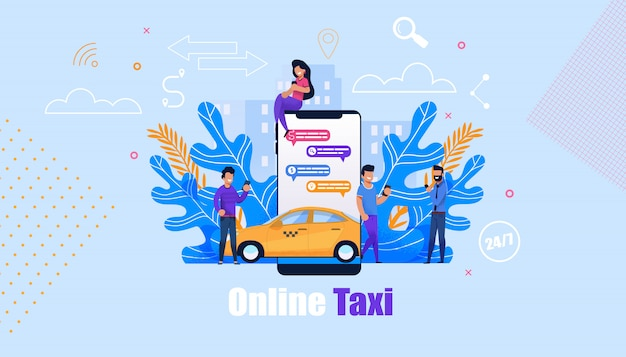 Online taxi order service ilustração Vetor Premium