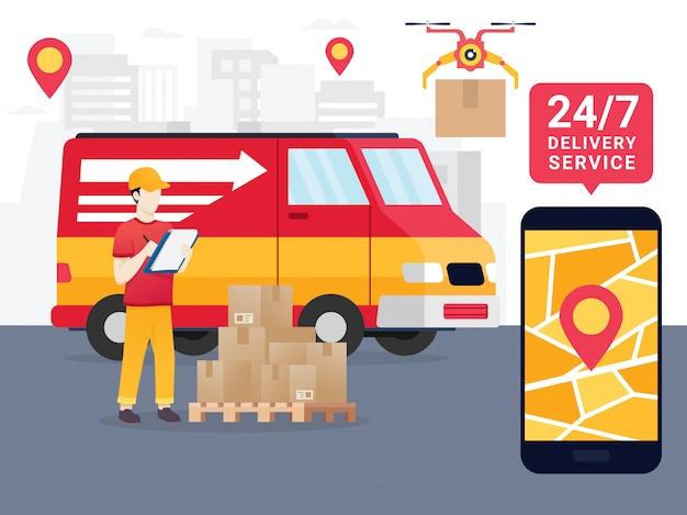 Online tracking o movimento de encomendas em um telefone inteligente Vetor Premium