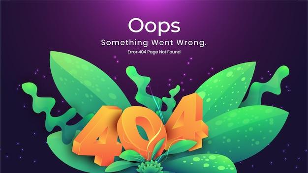 Opa 404 página de erro não encontrada conceito escuro natural. erro na página de destino da página da web ausente Vetor Premium