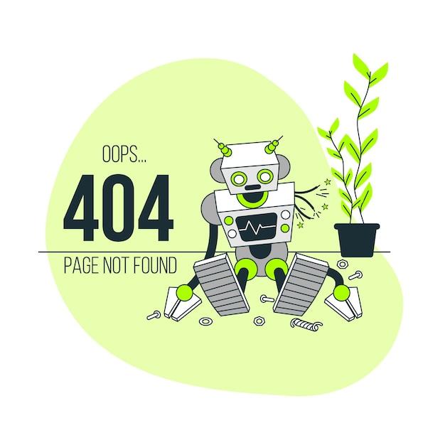 Opa! erro 404 com uma ilustração do conceito de robô quebrado Vetor grátis