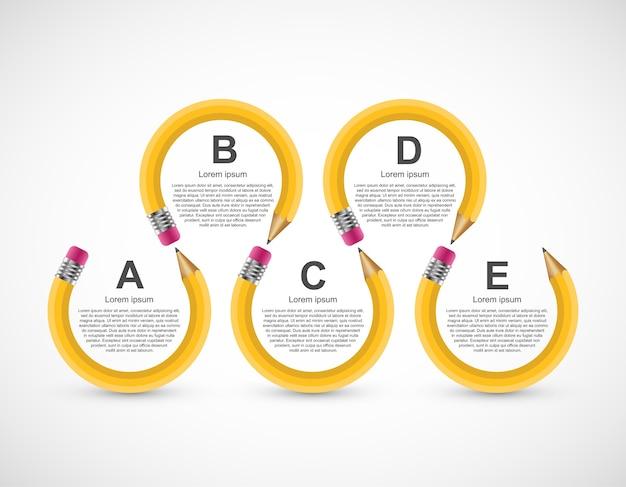 Opção de lápis de educação modelo de design de infografia. Vetor Premium
