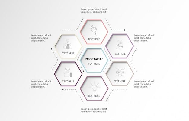 Opção do hexágono 6 de infographic ou etapas e fundo do mundo. conceito de cor roxa. Vetor Premium