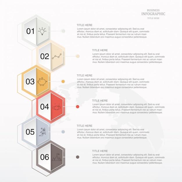 Opção do hexágono 6 de infographic ou etapas e ícones para o conceito do negócio. Vetor Premium
