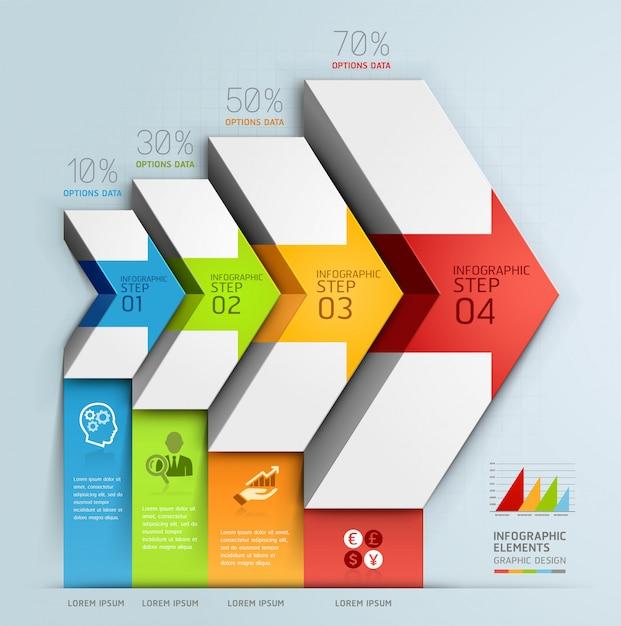 Opções da etapa do negócio do diagrama da escadaria da seta 3d. Vetor Premium