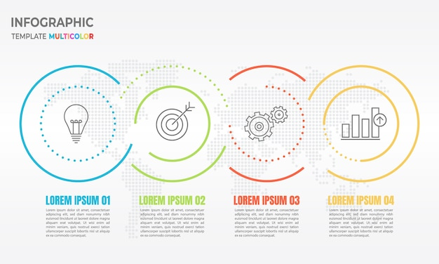 Opções de linha fina 3 infográfico círculo abstrato. Vetor Premium