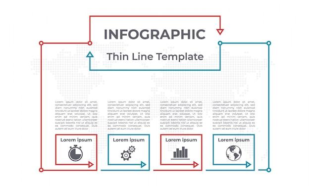 Opções de modelo 4 gráfico de infográfico. Vetor Premium