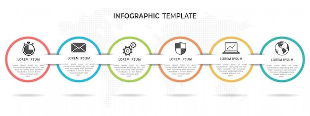 Opções de modelo 6 de infográfico timeline círculo moderno Vetor Premium