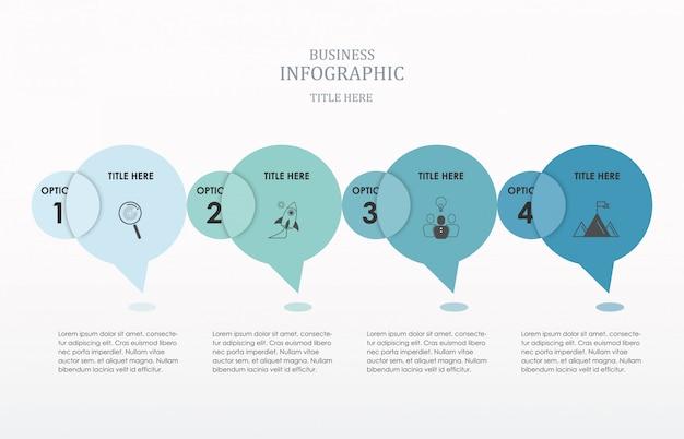 Opções de número de infográficos de conversa de círculo. Vetor Premium