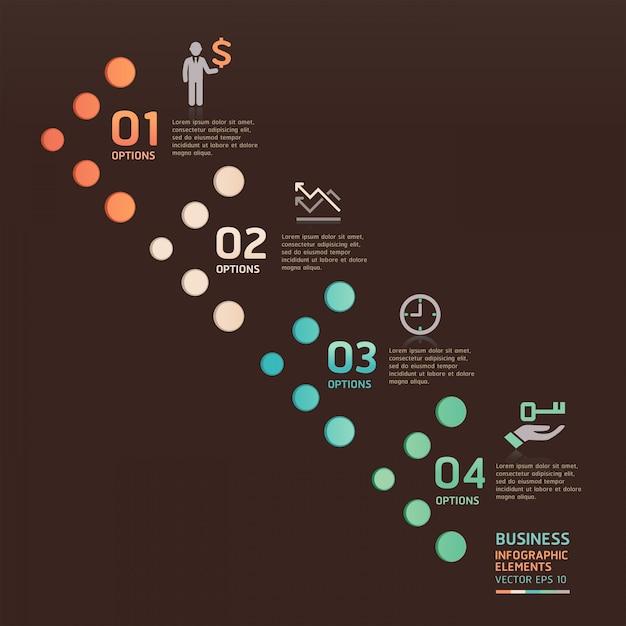 Opções de seta de ponto de negócios modernos podem ser usadas para layout de fluxo de trabalho, diagrama, números opções, web design, infográficos. Vetor Premium