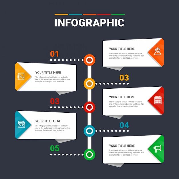 Opções do modelo 5 do infográfico Vetor Premium