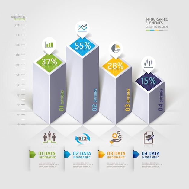 Opções modernas de infografia 3d. Vetor Premium