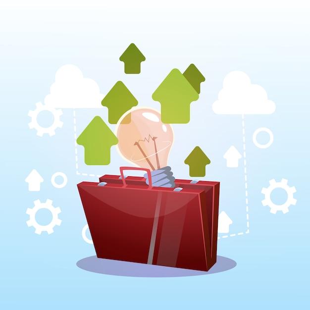 Open briefcase with light bulb novo conceito de ideia de negócio bem sucedido Vetor Premium
